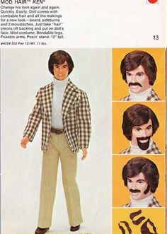 Mod Hair Ken w/ peel-n-stick facial hair...