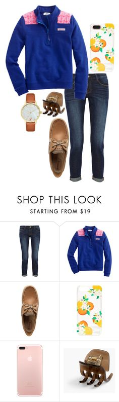 """""""Como la flor"""" by ava-navarrrroo ❤ liked on Polyvore featuring Frame, Vineyard Vines, Sperry, Kate Spade and J.Crew"""
