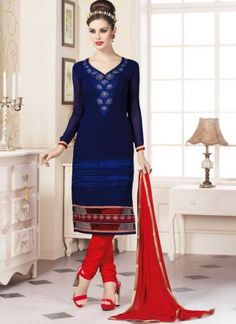 Royal Blue And Red Georgette With Work Churidar Suit  http://www.angelnx.com/Salwar-Kameez/Churidar-Suits