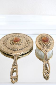 So pretty, these would look wonderful on my dressing table... Vanity Mirror And Brush Set- Gold Shabby Chic Victorian Vintage Amer Stone.