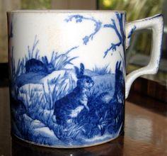 Extremely rare blue & white transfer ware Hancocks Grazing Rabbits (woodland)