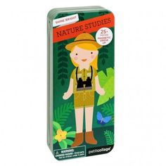 Petit Collage Nature Studies - Travel Magnetic Dress Up. This portable magnetic dress up and play set is great for on the go! Paper Doll Chain, Paper Dolls, Craft Kits, Diy Kits, Nativity Advent Calendar, Dinosaur Coloring, Toy Camera, Jewelry Kits, Nature Study
