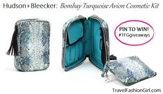 Win! Bombay Turquoise Avion Cosmetic Kit Luxury Travel Accessories for Women Giveaway  #TFGgiveaways  at  http://travelfashiongirl.com/