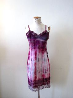 hand dyed tie dyed vintage slip dress lace purple by detroitdolly, $59.00
