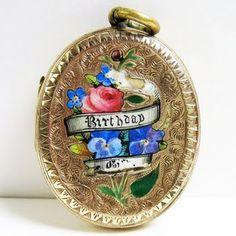 Victorian enameled birthday locket