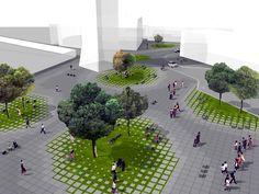Ideas competition for the urban regeneration of A. De Gasperi Square (Concorso di idee per la riqualificazione urbana di Piazza A. De Gasperi) Program: Public square, 3 food kiosks, 1 restaurant, 1 double level underground parking Project:...
