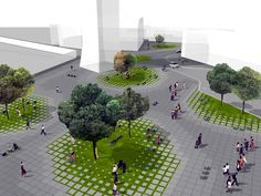 Ideas competition for the urban regeneration of A. De Gasperi Square (Concorso di idee per la riqualificazione urbana di Piazza A. De Gasperi)  Program: Public square, 3 food kiosks, 1 restaurant, 1 double level underground parking Project:...