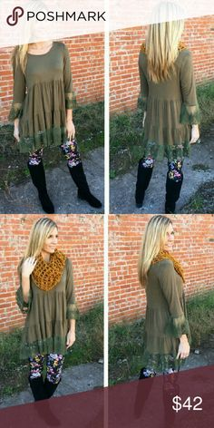 COMING SOON ·Olive Lace Trim Baby Doll Tunic· This beautiful tunic is olive color with lace embelished trim around the bottom. Check out my closet for leggings or other items to pair these with. Infinity Raine Tops Tunics