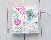 Embroidered Flower Garden Vintage Quilt and Lace Needle Book Sewing Kit for Travel or Home, Mothers Day Last Minute Gift, Spring Summer. $15.00, via Etsy.