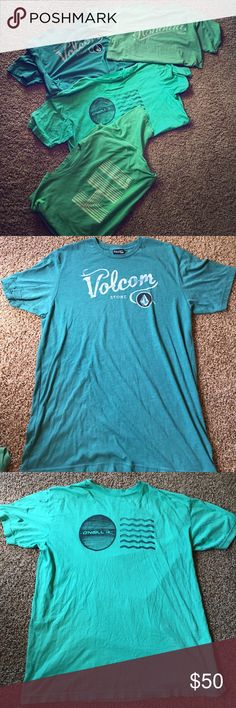 Men's Surf Skate Snow T-Shirts Lot of 4 Green XL Men's Surf Skate Snow T-Shirts Lot of 4 Green Colors XL - modern fit, all super soft material worn minimally. Brands are: Honolua, Quicksilver, O'Neill & Volcom Stone. Retail about $30 each so $120 total. Shirts Tees - Short Sleeve