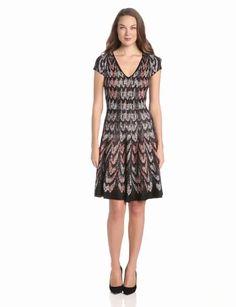 Amazon.com: BCBGMAXAZRIA Women's Violet Jacquard A-Line Sweater Dress: Clothing