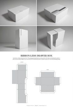 Ribbon-Less Drawer Box – FREE resource for structural packaging design dielines by lynne Packaging Dielines, Box Packaging, Design Packaging, Cosmetic Packaging, Retail Packaging, Origami Box, Paper Crafts Origami, Pencil Boxes, Cool House Designs
