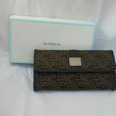 Liz Claiborne wallet and check book Brown and gold logo wallet with check book. Liz Claiborne Bags Wallets