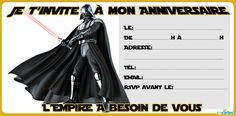 invitation anniversaire dark vador