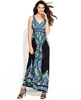 INC International Concepts Dress, Sleeveless Exotic-Print V-Neck Maxi