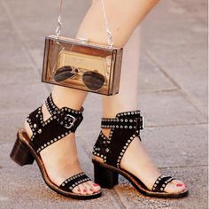 Isabel Marant Jaeryn Studded Leather Sandals Black. #IM   #sandals   #SS16…