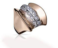 Bague Art Deco LOUISA Or Blanc, Or Rose et Diamants. Bague ancienne. #bague #artdeco #orblanc #orrose #diamants #ancienne #luxe #bijoux #valeriedanenberg