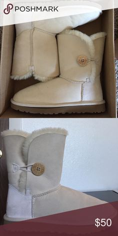 UGG AUSTRALIA bailey button Cream UGG Australia Bailey Button boots, worn only a hand few of times UGG Shoes Winter & Rain Boots