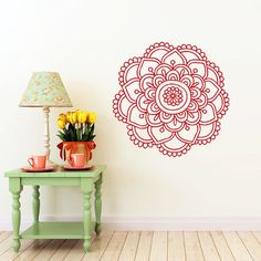 Mandala Wall Decal Namaste Indian Flower Mandala Lotus Yoga Wall Decals Vinyl Sticker Interior Home Decor Vinyl Art Wall Decor Bedroom Living