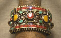 Turquoise Soul  . . .   Vintage Tibetan Cuff Bracelet | Silver metal and brass inlaid with turquoise and coral.