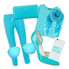 """""""Your as blue as the sky"""" by brenna-mccarty on Polyvore featuring MANGO, Peace of Cloth, A.N.A, Kate Spade, Michael Kors and Chan Luu"""