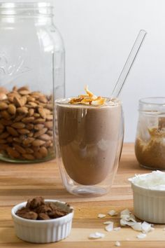 Almond Joy Smoothie (also a recipe for an Almond Joy Milkshake)--add kale to make this a Green Smoothie  // edible perspective