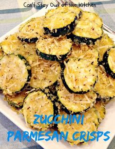 Zucchini Parmesan Crisps - this amazing recipe is quick, easy, and so, so delicious! #zucchini #parmesancheese #sidedish #veggie via Can't Stay Out of the Kitchen