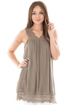 Lime Lush Boutique - Olive Sleeveless Dress with Crochet Detail, $19.95 (https://www.limelush.com/olive-sleeveless-dress-with-crochet-detail/)