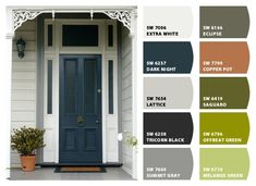 Sherwin-Williams – ColorSnap by Dark Night - front door Black House Exterior, Exterior House Colors, Exterior Doors, Exterior Paint, Black Front Doors, Painted Front Doors, Front Door Colors, Exterior Color Schemes, Paint Color Schemes