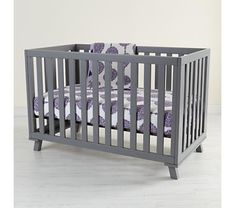 Great gender neutral grey and lavender color scheme, a nice departure from green and yellow