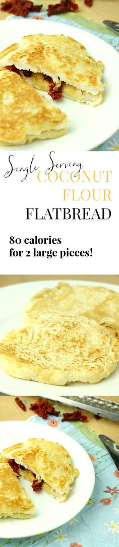 I just found my new favorite lunch. This flatbread is ready in just 10 minutes and only 80 calories for two giant slices!! Warm, doughy, delicately flavored, and absolutely amazing.