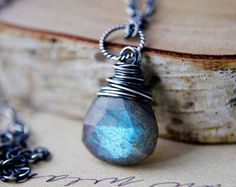 Thunder Necklace Gemstone Jewelry Labradorite Midnight by PoleStar