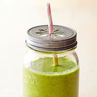 Kiwi-Pineapple Smoothie (spinach, kiwi, banana, yogurt, pineapple, orange juice, flax or chia seeds)