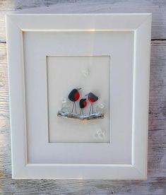 Pebble art birds, Pebble art family3, Family birds3, Birds winter, wall art, pebble picture, new home gift, home living, anniversary