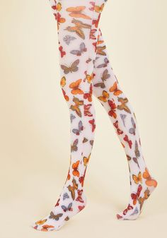 Fly Like the Whim Tights - White, Multi, Print with Animals, Print, Party, Casual, Quirky, Critters, Better, Knit, Mixed Media