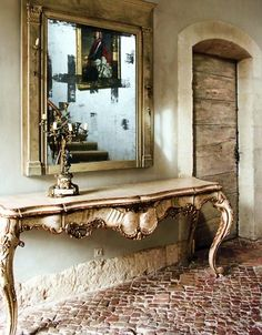 love the floor, the table the mirror- how simple and elegant (burlap and silk!!!)