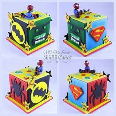 Awesome spiderman batman cake