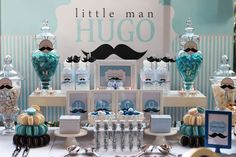 Blue; Silver; White and Mustache Birthday Party Ideas | Photo 1 of 19