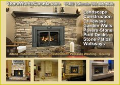 Stone fireplace indoor & outdoor installation - For a Free Estimate Call a Stone Works Canada masonry bev installation specialist at 905.486.9836 or 416.503.4333
