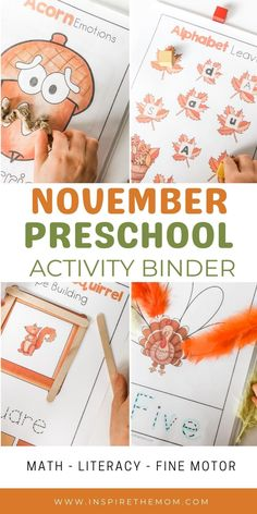 Looking for a few November activities to do with your preschooler? Check out these ten fun, fine-motor, math, and literacy games! #November preschool #Preschool activity binder #preschool activities #November math #November preschool literacy #literacy activities #preschool at home #fine motor activities #November fine motor activities #Thanksgiving Preschool #preschool Thanksgiving #Thanksgiving activities for preschool #November preschool #preschool printable