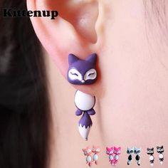 Kittenup New Fashion Yellow Purple Black Animal Cute Fox Stud Earrings – nantahalas