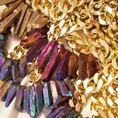 Bling bling! Shh by Sadie crystal quartz and chunky gold chain necklaces galore!! Shhbysadie.com