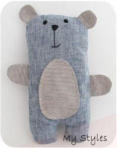 Sample Sale - Blue Linen Bailey Bear (Sold) Today this stuffed bear . - art - Sample Sale – Blue Linen Bailey Bear (Sold) Today this stuffed bear is available to a - Sewing Toys, Baby Sewing, Sewing Crafts, Fall Sewing Projects, Fabric Toys, Fabric Crafts, Baby Crafts, Diy And Crafts, Creative Crafts