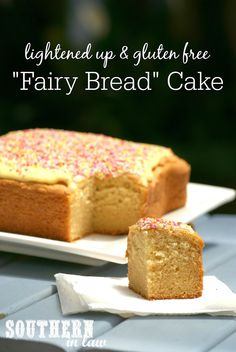 """The Aussie kids classic Fairy Bread gets taken to a whole new level with this """"Fairy Bread"""" Cake - and it is also healthier too, but you would NEVER know! Gluten free, low fat, lower sugar and the Butter Cake Recipe is easily adapted to suit whatever frostings or toppings you desire!"""