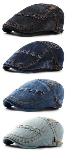 Mens Summer Denim Beret Caps Casual Fashion Visor Cowboy Hats Forward Hat Adjustable