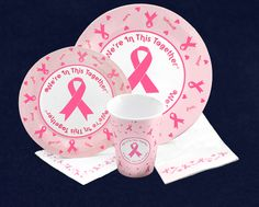Pink Ribbon Paper Products Pack. This pink ribbon paper products pack contains everything you need for your next party or event. Each party pack contains 20 dinner plates, 20 dessert plates, 20 dinner napkins, 20 beverage napkins and 25 cups all with a pink ribbon design. (PPACK-1)