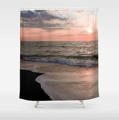 Coral Sunset Shower Curtain Twilight Beach by NaturalLightStudio  -- Another beautiful item produced by a DigiColorCreations.com member!
