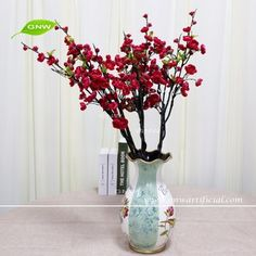 GNW BLB-CH1605019 Latest design Artificial Flower Red plum blossom branch for Home Decoration