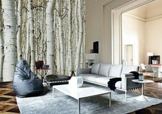 tapisserie trompe l'oeil, poster mural trompe l'oeil, tapis gris pour le salon, decoration murale