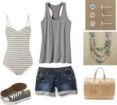 A touch of grey for a beach day, created by rhiannedbutler on Polyvore